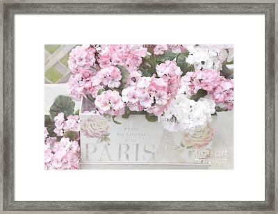 Paris Dreamy Romantic Cottage Chic Shabby Chic Paris Flower Box Framed Print by Kathy Fornal