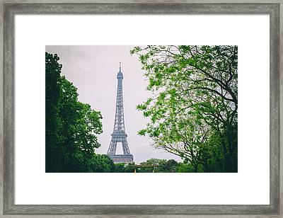 Paris Eiffel Surrounded By Trees Framed Print by Georgia Fowler