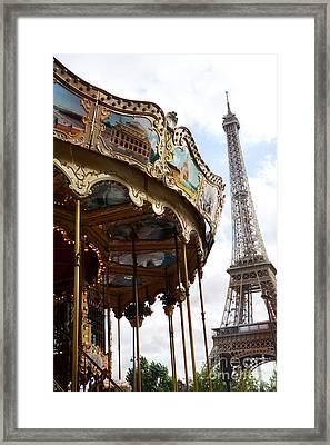 Paris Eiffel Tower Carousel Merry Go Round - Paris Carousels Champ Des Mars Eiffel Tower  Framed Print by Kathy Fornal
