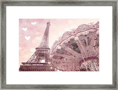 Paris Eiffel Tower Carousel Merry Go Round With Hearts - Eiffel Tower Carousel Baby Girl Nursery Art Framed Print by Kathy Fornal