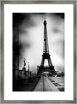 Paris Eiffel Tower - Surreal Black And White Paris Eiffel Tower Photography Framed Print by Kathy Fornal