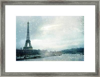 Paris Eiffel Tower Winter Snow - Paris In Winter - Paris Eiffel Tower Winter Fog Landscape Framed Print by Kathy Fornal