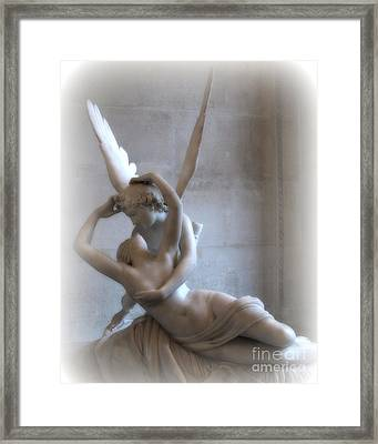 Paris Eros And Psyche Angels Louvre Museum - Paris Angel Art - Paris Romantic Eros And Psyche Art  Framed Print by Kathy Fornal
