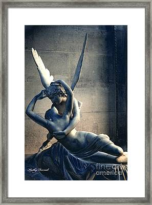 Paris Eros And Psyche Romantic Lovers - Paris In Love Eros And Psyche Louve Sculpture  Framed Print by Kathy Fornal