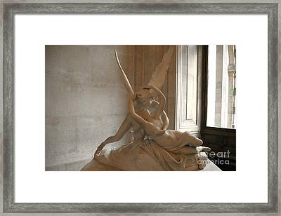 Paris Eros Psyche Sculpture - Eros And Psyche Romantic Lovers Monument At Louvre Framed Print by Kathy Fornal