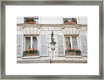 Paris Flower Window Boxes - Paris Windows Architecture - French Floral Window Boxes  Framed Print by Kathy Fornal