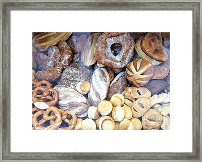 Paris Food Photography - Paris Au Pain - French Breads And Pretzels Framed Print by Kathy Fornal