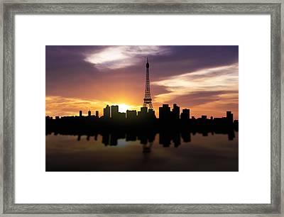 Paris France Sunset Skyline  Framed Print by Aged Pixel