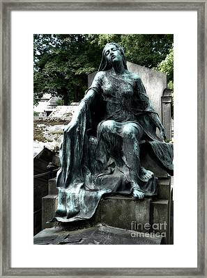 Paris Gothic Female Mourner - Montmartre Cemetery Female Sculpture - Mother Looking Over Son Framed Print by Kathy Fornal