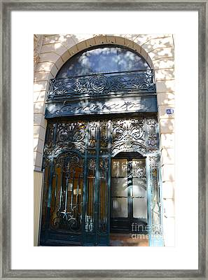 Paris Guerlain Storefront Boutique - Paris Guerlain Blue Door Art Nouveau Art Deco Door Framed Print by Kathy Fornal