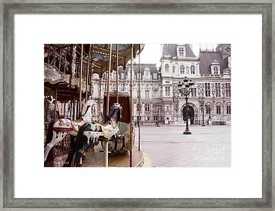Paris Hotel Deville - Paris Carousel Horses At Hotel Deville - Paris Pink Architecture Art Nouveau Framed Print by Kathy Fornal