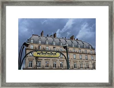 Paris Metropolitain Sign At The Paris Hotel Du Louvre Metropolitain Sign Art Noueveau Art Deco Framed Print by Kathy Fornal