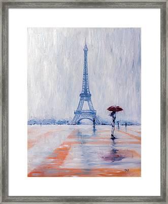 Paris In Rain Framed Print by Kovacs Anna Brigitta