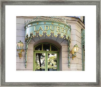 Paris Laduree Door Sign - Romantic Paris Laduree Green And Gold Door Sign And Lamps Framed Print by Kathy Fornal