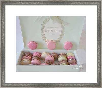 Paris Laduree Pastel Macarons - Paris Laduree Box - Paris Dreamy Pink Macarons - Laduree Macarons Framed Print by Kathy Fornal