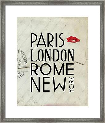 Paris London Rome And New York Framed Print by Jaime Friedman