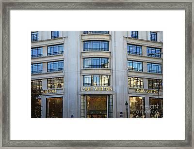 Paris Louis Vuitton Fashion Boutique - Louis Vuitton Designer Storefront In Paris Framed Print by Kathy Fornal