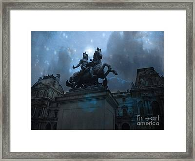 Paris Louvre Museum Blue Starry Night - King Louis Xiv Monument At Louvre Museum Framed Print by Kathy Fornal