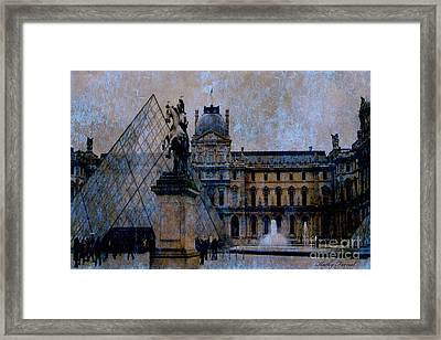 Paris Louvre Museum Impressionistic - Surreal Blue Brown Louvre Pyramid Architecture Sculptures Framed Print by Kathy Fornal