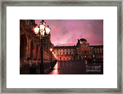 Paris Louvre Museum Night Architecture Street Lamps - Paris Louvre Museum Lanterns Night Lights Framed Print by Kathy Fornal