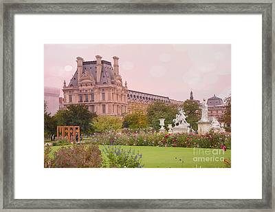 Paris Louvre Palace Tuileries Spring Gardens Floral Romantic Photography Framed Print by Kathy Fornal