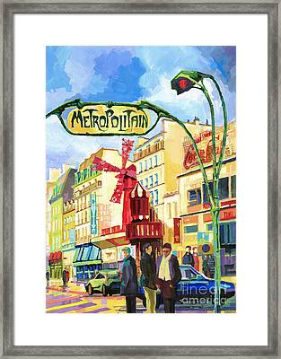 Paris Metropolitain Blanche Moulin Rouge  Framed Print by Yuriy  Shevchuk