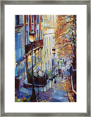 Paris Monmartr Steps Framed Print by Yuriy  Shevchuk