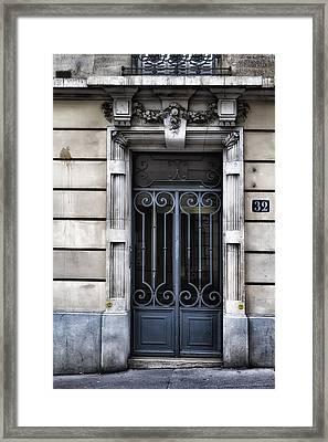Paris Montmartre Door - Faded Blue Framed Print by Georgia Fowler