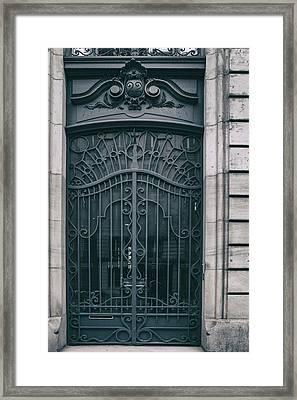 Paris Montmartre Door - Vintage Blue Framed Print by Georgia Fowler