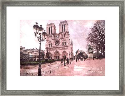 Paris Notre Dame Cathedral Courtyard - Notre Dame Courtyard Dreamy Pink  Framed Print by Kathy Fornal