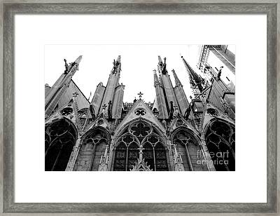 Paris Notre Dame Cathedral Gothic Black And White Gargoyles And Architecture Framed Print by Kathy Fornal