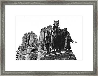 Paris Notre Dame Cathedral Monument - Charlemagne Horses Statue At Notre Dame Cathedral  Framed Print by Kathy Fornal