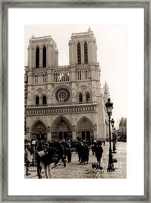 Paris Notre Dame Cathedral Sepia - Paris Vintage Sepia Notre Dame Cathedral Street Photography Framed Print by Kathy Fornal