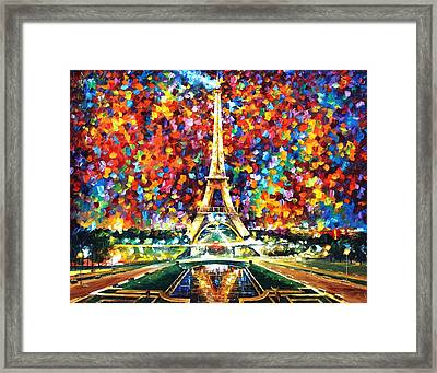 Paris Of My Dreams - Palette Knife Landscape Architecture Oil Painting On Canvas By Leonid Afremov Framed Print by Leonid Afremov