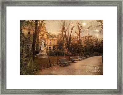 Paris Parc Monceau Gardens - Jocques Garnerin Parc Monceau Sunset Starlit Park And Garden Sculpture  Framed Print by Kathy Fornal