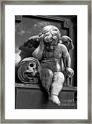 Paris Pere Lachaise Cemetery- Cherub Gothic Angel With Skull Framed Print by Kathy Fornal