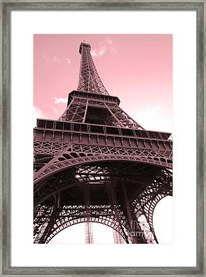 Paris Photography - Eiffel Tower Baby Pink Pastel Photography - Eiffel Tower Architecture Framed Print by Kathy Fornal