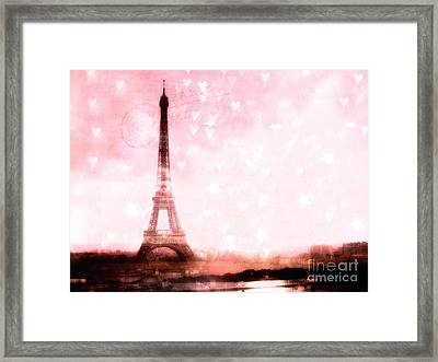 Paris Pink Eiffel Tower With Hearts And Stars - Paris Romantic Dreamy Pink Photographs Framed Print by Kathy Fornal