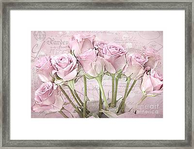 Paris Pink Roses Impressionistic French Pink Roses   - Romantic Shabby Chic Pink Roses French Decor Framed Print by Kathy Fornal