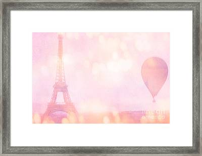 Paris Dreamy Pink Eiffel Tower With Pink Hot Air Balloon - Paris And Balloons Framed Print by Kathy Fornal