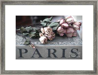 Paris Pink Roses On Book  - Dreamy Romantic Paris Books And Roses - Memories Of Paris Framed Print by Kathy Fornal