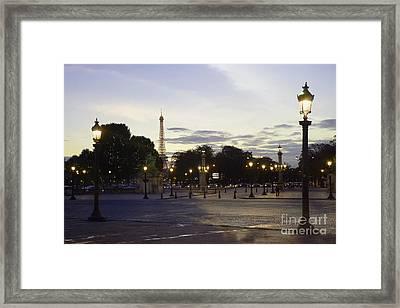 Paris Place De La Concorde Evening Sunset Lights With Eiffel Tower - Paris Night Lights Eiffel Tower Framed Print by Kathy Fornal