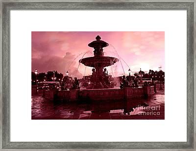 Paris Place De La Concorde Fountain - Paris Dreamy Surreal Pink Night Place De La Concorde  Framed Print by Kathy Fornal