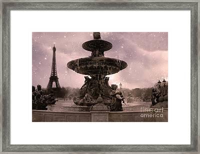 Paris Place De La Concorde Fountain Square - Paris Pink Place De La Concorde Fountain Starry Night Framed Print by Kathy Fornal