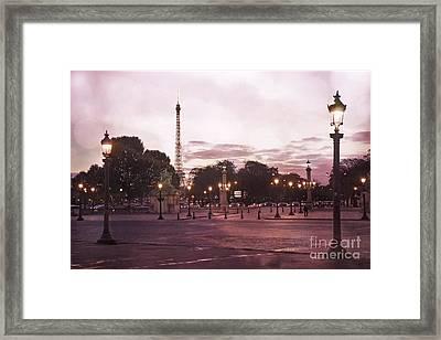 Paris Place De La Concorde Plaza Street Lamps - Romantic Paris Lanterns Eiffel Tower Pink Sunset Framed Print by Kathy Fornal