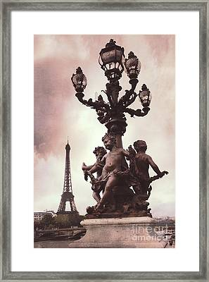 Paris Pont Alexandre IIi Bridge - Paris Ornate Bridge With Eiffel Tower And Cherubs On Lamp Post Framed Print by Kathy Fornal