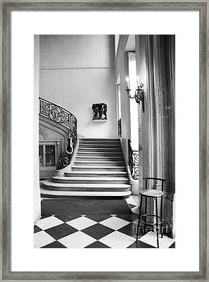 Paris Rodin Museum Black And White Fine Art Architecture - Rodin Museum Entry Staircase Framed Print by Kathy Fornal