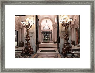 Paris Romantic Hotel Interior Elegant Posh Lanterns Lamps Art Deco Architecture Framed Print by Kathy Fornal