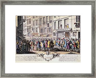 Paris. Rue Quinquempoix, 1720. Scene Framed Print by Everett
