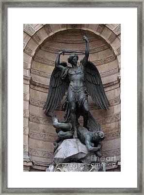 Paris - Saint Michael Archangel Statue Monument - Saint Michael Slaying The Devil Framed Print by Kathy Fornal